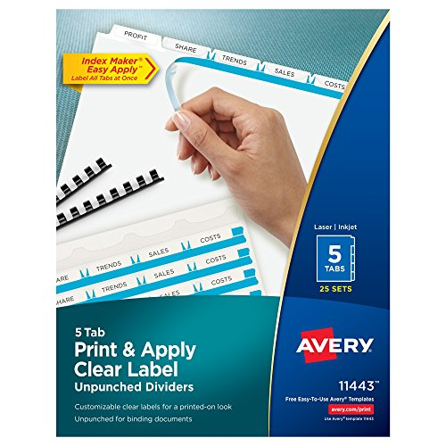 Avery Print & Apply Clear Label Unpunched Dividers, Index Maker Easy Apply Printable Label Strip, 5 White Tabs, 25 Sets, Case Pack of 6 (Avery Reinforced Labels)