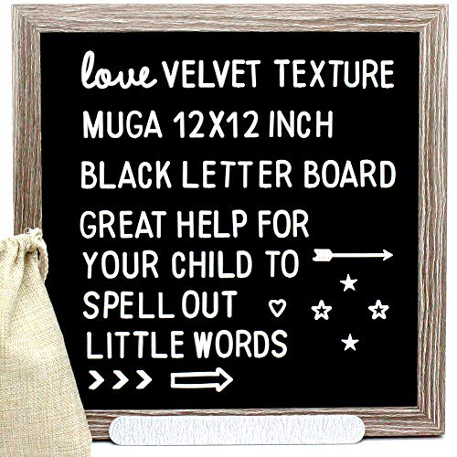 Muga Black Letter Board Message Sign, 12x12