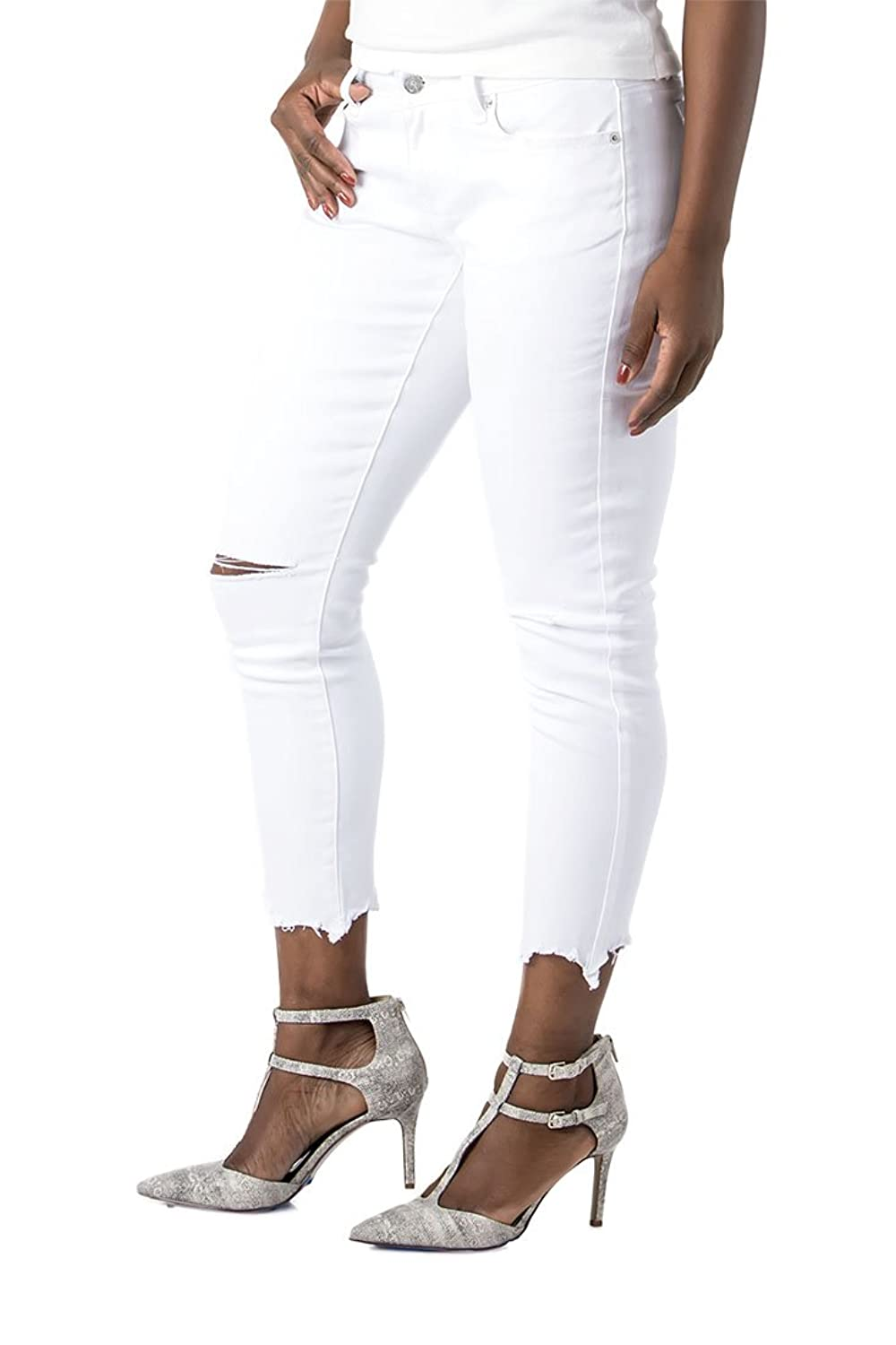 Poetic Justice Curvy Women's White Stretch Denim Raw Edge Destroyed Ankle Jeans