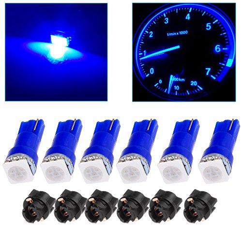 cciyu 6x Car T5 5050 1SMD Wedge Xenon White LED Light Bulbs + 6x T5 Twist Sockets 17 37 70 Instrument Panel Cluster Plug Lamp Dash Light Bulb (blue) ()