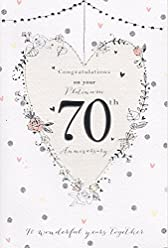amazon co uk international cards and gifts stores 96th Birthday Greetings on your platinum 70th wedding anniversary card good quality card
