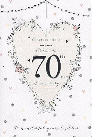 70th Wedding Anniversary.On Your Platinum 70th Wedding Anniversary Card Good Quality Card