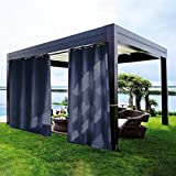 gazebo curtains diy Navy Outdoor Curtain Gazebo Drape 96 Long - DECORHOME Antique Bronze Grommet Thermal Insulated All Season for Patio, Front Porch Blackout curtain/Panel for Indoors and Outdoors,84Wx96L Inch