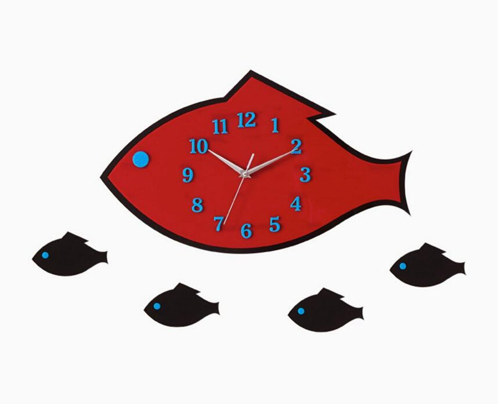 Sucastle With the fish, Creative, manual, mute, Wall Clock, 12'' (no battery) NCDB