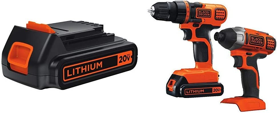 BLACK+DECKER LBXR20 20-Volt MAX Extended Run Time Lithium-Ion Cordless To with Black & Decker 20V MAX Drill/Driver Impact Combo Kit