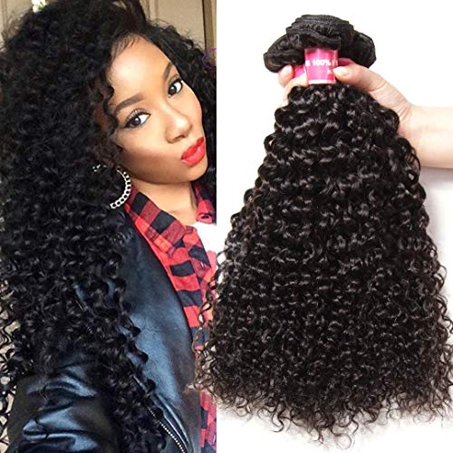 Jolia Hair 8A Brazilian Virgin Curly Hair Weft 3 Bundles a Pack 16 14 12 inch 100% Unprocessed Deep Curly Remy Human Hair Extensions Sew in Weave Natural Color