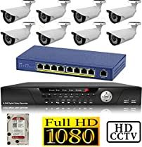 USG 1080P HD IP CCTV Kit: 1x 16 Channel NVR + 1x 9 Port PoE Switch + 8x 1080P 2.8-12mm PoE IP Bullet Cameras + 1x 2TB HDD *** High Definition IP CCTV Video Surveillance
