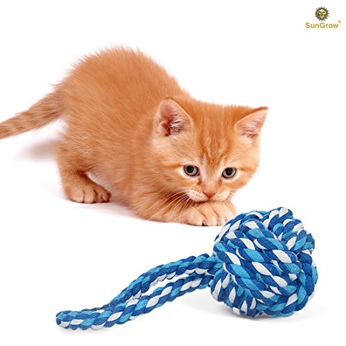 SunGrow Rope Ball Chew Toy for Cats, Kittens and Other Pets Made of 100% Natural Cotton - Cleans Teeth & Massages Cats Gums: Machine Washable - Completely Safe & Suitable Ages