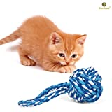 Rope Ball Chew Toy for Cats, Kittens and Other Pets by SunGrow - Made of 100% Natural Cotton - Cleans Teeth & Massages Cat's Gums: Machine Washable - Completely Safe & Suitable Ages