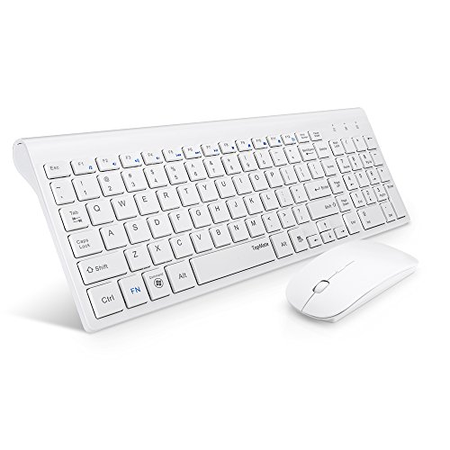 TopMate-KM9000-Ultra-Slim-Portable-Mute-Wireless-Keyboard-and-Mouse-Combo-Office-Wireless-USB-MouseBlack,White-White