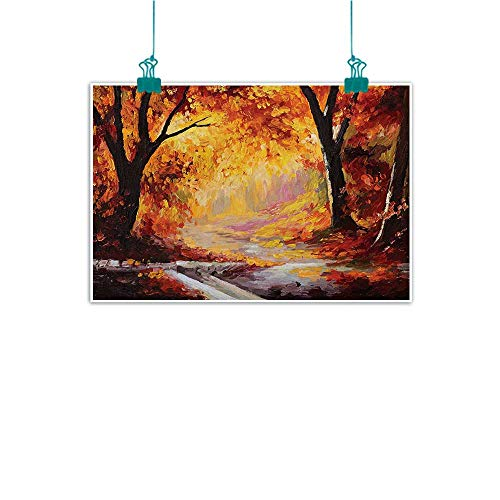 Modern Oil Paintings Paint of a Forest with Autumn Color Leaves Fall Time Sadness Season Theme Art Canvas Wall Art 20