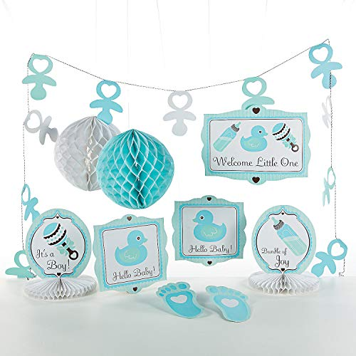 (Fun Express - Baby Boy Decorating Kit (10pc) for Party - Party Decor - General Decor - Decorating Kits - Party - 10 Pieces)