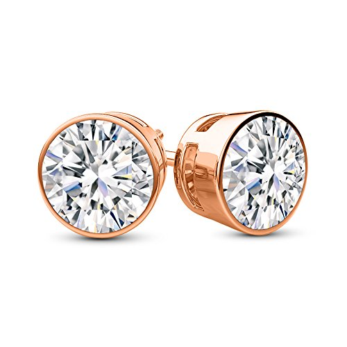 De Diamond Bezel (1/2 0.5 Carat Total Weight White Round Diamond Solitaire Stud Earrings Pair set in 14K Rose Gold Bezel Push Back (I-J Color I1 Clarity))