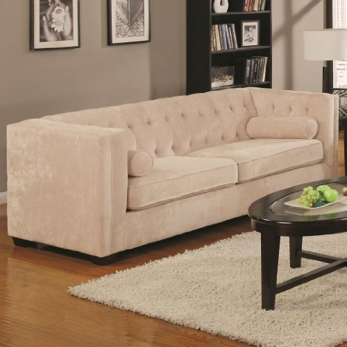 Coaster Alexis Collection Sofa Couch in Almond Microvelvet (Tufted Couch Set)