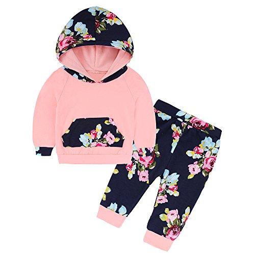 Newborn Baby Boy Girls Varioust Styles Hoodie Top Long Pants Outfit Set (School Hooded Top)