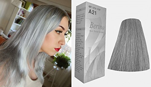 Berina Permanent Hair Color A21 Light Grey Hair Dye Cream 21