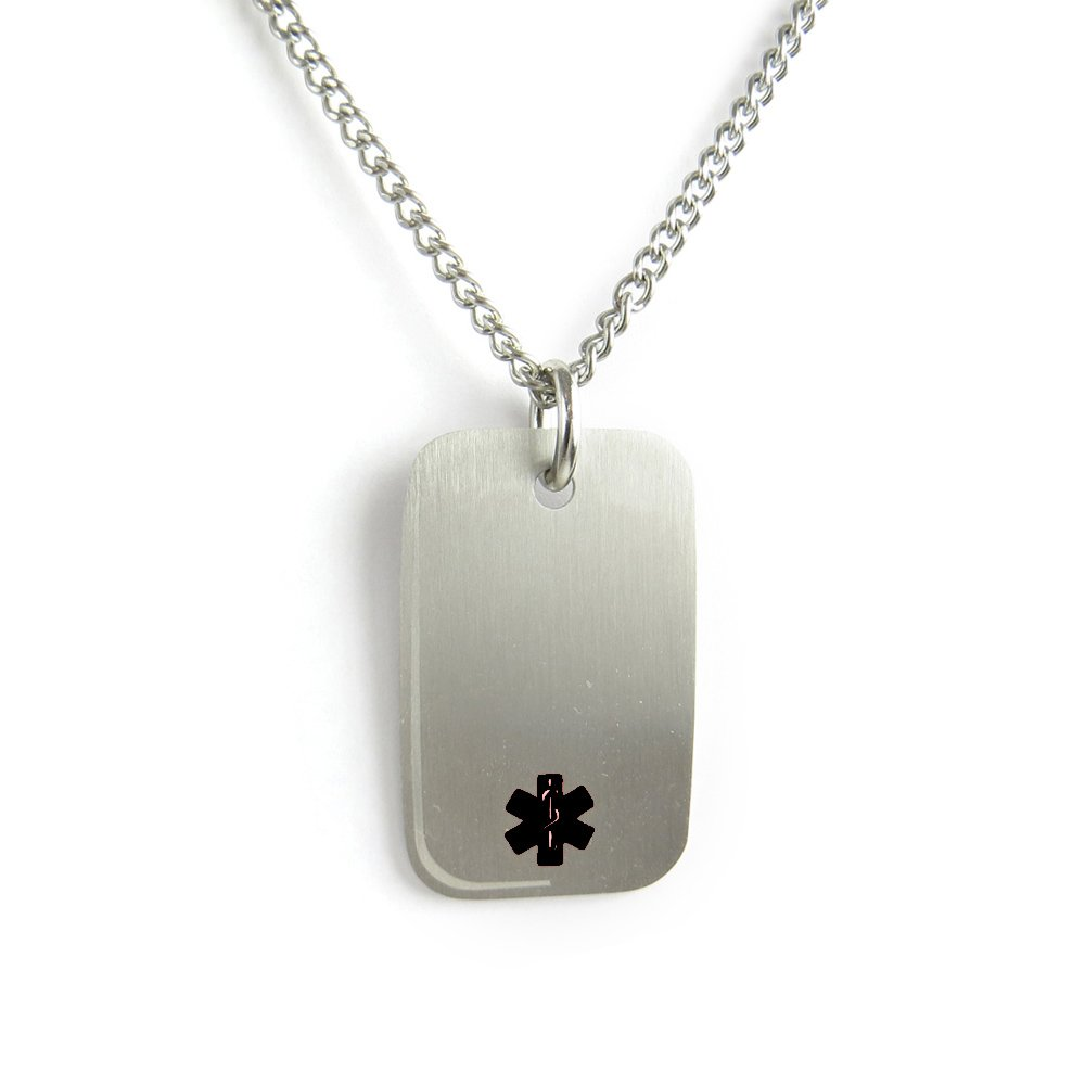 MyIDDr- Peanut Allergy Medical Alert Dog Tag Necklace Stainless steel, Pre-Engraved Black My Identity Doctor PDS1BK(Peanut-Allergy)