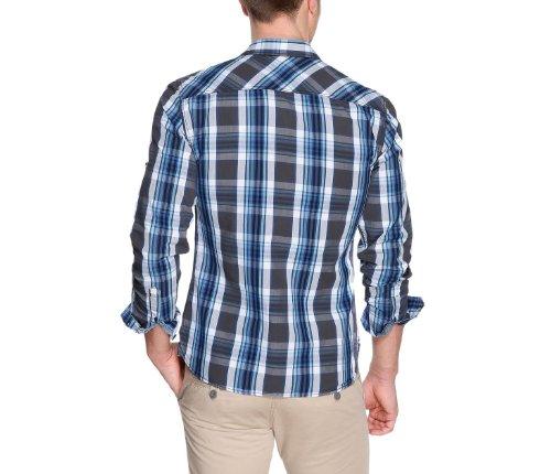 s.Oliver - Camisa slim fit de manga larga para hombre Gris (Black Grey Check)