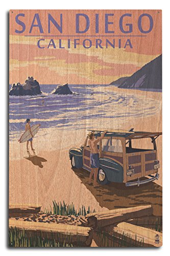 Lantern Press San Diego, California - Woody on Beach (10x15 Wood Wall Sign, Wall Decor Ready to Hang) -