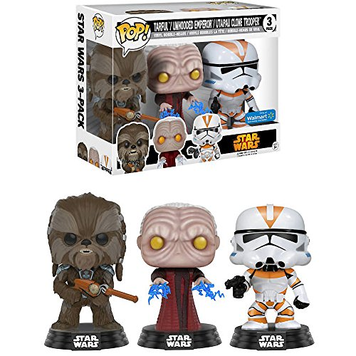 Funko Tarfful, Unhooded Emperor, Utapau Clone Trooper (Walmart Exclusive) POP! x Star Wars Vinyl Figure + 1 Official Star Wars Trading Card -