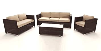 Set sofas rattan chocolate Garbi 6 plazas: Amazon.es: Jardín