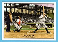 Babe Ruth Classic Batting photo Baseball Card with Lifetime Batting Stats on back of card (New York)