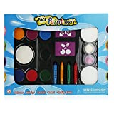 Face Painting Kit for Kids with Washable Paint, Glitter, Push-Up Crayon Markers, Sponges, Mini Brushes & Reusable Stencils