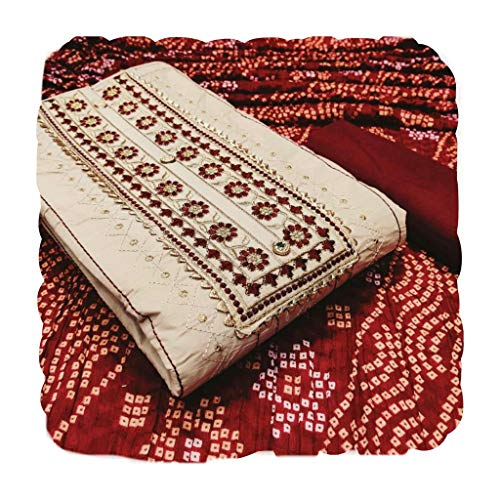 HI FASHION Women's Unstitched PC Cotton Salwar Suit Dress Material With Chinon Silk Dupatta