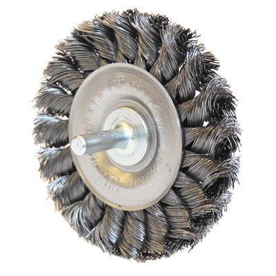 Weiler 3 1//4 Stem-Mounted Knot Wire Wheel 0.014 Steel Fill 1//4 Stem 3 Pack