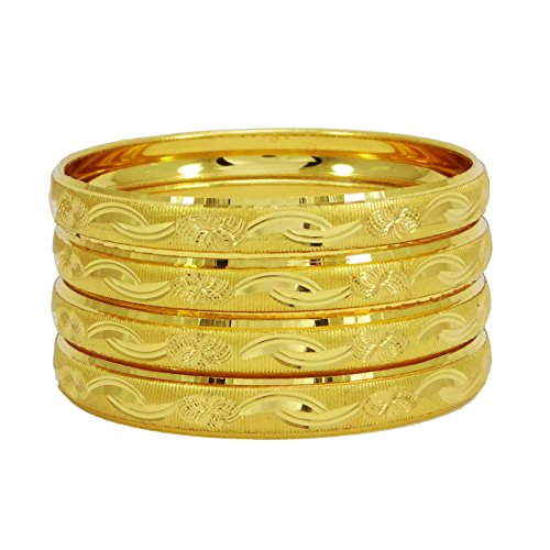 Traditional Womens Bracelets (Banithani 18K Goldplated Traditional Indian Bracelets Bangle Set Designer Jewelry 26)