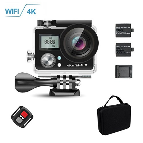 KAMARE 4K Ultra HD WIFI Sport Action Camera 16MP SONY Sensor Waterproof DV Camcorder with 170 Degree Wide Angle/2 inch LCD/2.4G Remote Control/2x1050mAh Rechargable Batteries/Full Set Accessories Action Cameras KAMRE