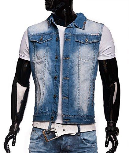 Ärmellose Herren Jeansweste Biker ID1304 hellblau, Größe Jacken:M