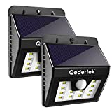 Qedertek 2 Pack12 LED Motion Sensor Solar Lights, Wireless Security Sensing Wall Lights for Garden, Patio, Yard, Deck, Path (2 Pack)
