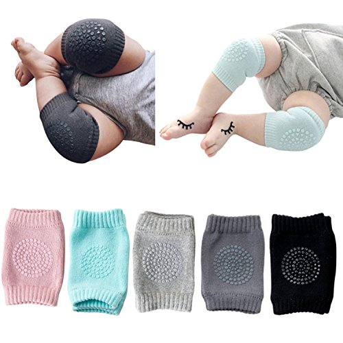 JOYEBUY 5 Pairs Baby Crawling Anti-Slip Knee pads Unisex Baby Toddlers Kneepads (Multiple Colors)