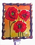 Continental Art Center NL9403 Hand Painted Glass with Night Light Poppies, 5.2 by 5.6 by 1.6-Inch