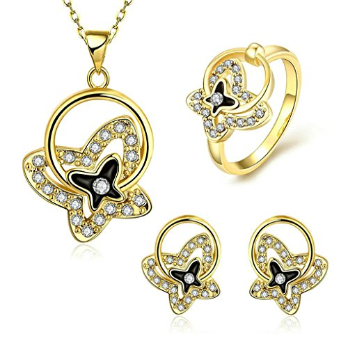Gnzoe Jewelry, Gold Plated Women Ring Size 8 Earrings Necklace Crystal Inlaid CZ Jewelry Set ()