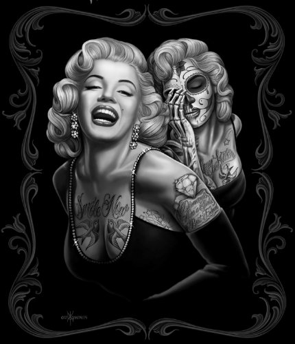 Marilyn Monroe Tattoos Black Super Soft Fleece Throw Blanket 50x60 ()