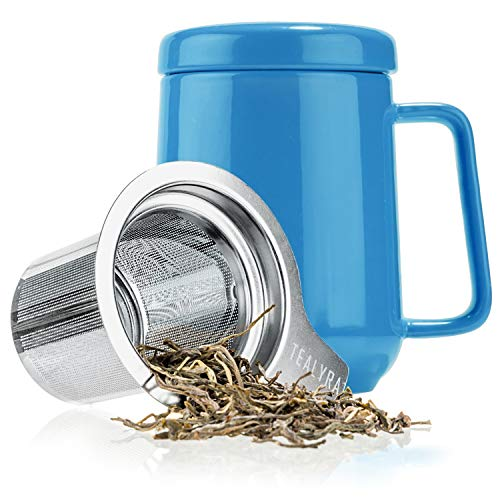 Tealyra - Peak Ceramic Blue Tea Cup Infuser - 19-ounce - Large Tea High-Fired Ceramic Mug with Lid and Stainless Steel Infuser - Tea-For-One Perfect Set for Office and Home Uses - 580 milliliter