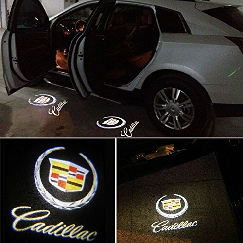 Flyox Easy Installation Car Door LED Logo Projector Ghost Shadow Lights for Cadillac Series (2 Pack)