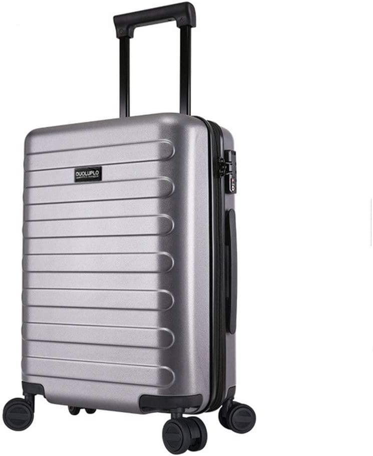 XIAOHAOHAO Trolley Case-Silent Universal Wheel-Anti-Theft-ABS Material Suitcase-Wearable Waterproof and Shockproof Suitcas,Silver,26in