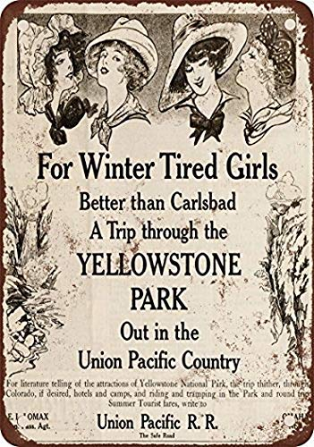 (Wall Decor 1910 Union Pacific Railroad to Yellowstone Park Vintage Look Reproduction Metal Tin Sign 8x12 Inches Restaurant Bar Pub Home Art Decor)