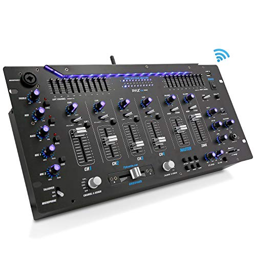 Pyle 6 Channel Mixer, Bluetooth DJ Controller, Stereo Mixer, Professional Sound System, LED Illumination, Mixer Digital Audio, Digital Mixing System, Speed Control, 5U Rack Mount System (The Best Dj Mixer)