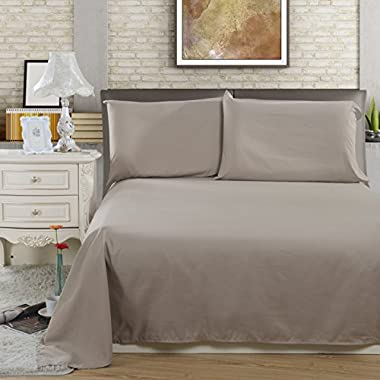 Lullabi Linen 100% Brushed Soft Microfiber Bed Sheet Set, Fitted & Flat Sheet & Pillowcases, Cozy Comfortable, Wrinkle, Fade, Stain Resistant, Deep Pockets (Khaki, Queen)