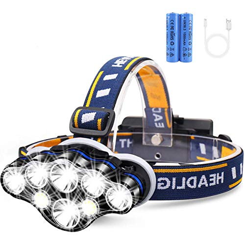 Rechargeable Headlamp, 8 LED 12000 High Lumen Flashlight with 8 Modes Head Lamp for Camping Cycling Outdoor Hunting