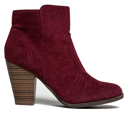 Breckelles Damen HEATHER-34 Faux Wildleder Chunky Heel Ankle Booties Wein**