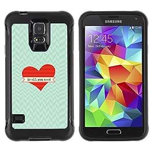 LASTONE PHONE CASE / Suave Silicona Caso Carcasa de Caucho Funda para Samsung Galaxy S5 SM-G900 / Is All You Need Heart Chevron Valentine