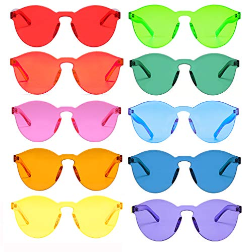 One Piece Rimless Sunglasses Transparent Candy Color Tinted Eyewear (10 ()