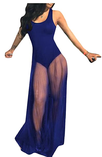 2e5d9ed5a90 Amazon.com  Yayu Women Tank Bodycon Bodysuit with Pleated Semi Sheer Mesh  Skirt  Clothing
