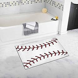 InterestPrint Softball, Baseball Red Lace over White Luxury Microfiber Washable Bath Rug For Floor Bathroom Bedroom Living Room