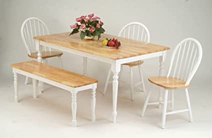 Charmant ACME 02247NW SET Farmhouse 6 Piece Casual Dining Set, Table/4 Side